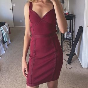 Burgundy Bandage Dress